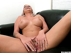 Deadra Dee with massive melons and bald bush has some dirty sex fantasies to be fulfilled in cumshot action