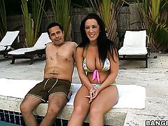 Brunette Jayden Jaymes with big ass strokes the sperm out of mans cum loaded meat pole