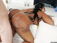Queen with a huge booty cheating her husband with white tattooed neighbor. He shows himself as experienced fucker. Each time he penetrates vagina, her ass is bouncing like jelly and giving a great pleasure to black bitch. Totally hot ass we are dealing with here.