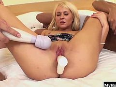 Amelie Pure is up to the challenge of taking on two Japanese men at the same time. She spreads her legs and lets the guys rub her twat and plunge her pussy with a couple of big vibrating toys. When shes nice and opened up, she gets on her knees to give a double blowjob to the lucky guys. They take turns fucking her tight shaved pussy before they pull out and spray her face with their white sticky juice