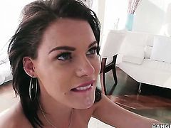 Amazing sex kitten Peta Jensen gives unbelievable oral pleasure to hot bang buddy by blowing his love stick
