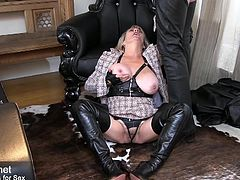 Hot and horny milf sucks cock with pleasure until sperm shoots out