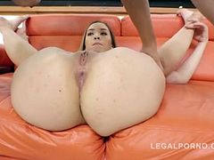 Sexy Russian's phat booty prepped and DP fucked