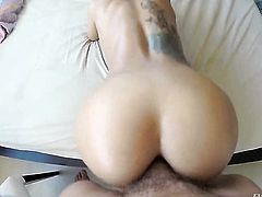 Julia de Lucia with big knockers tries her hardest to make hard dicked dude Nacho Vidal bust a nut with her mouth