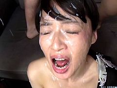 All the men line up, to shoot thick frothy loads all over this beautiful Japanese slut's face. She is absolutely covered in layers of cum. It's in her hair and eyes. The way she tugs off men, makes them cum fast.