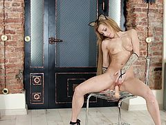 Sonya enjoys dressing up like a cheetah, followed by her dancing around, doing some art and attaching a dildo to the chair. Of course, it's obvious what she really wants right now, which is some hard cock between her thighs.