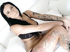 With huge boobs and hairless twat shows nice solo tricks with her new sex toy