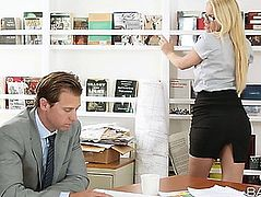Vanessa Cage Losses Her Belt And Acquires Rigid Schlong In Hardcore Office Scene