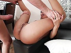 Kat Dior with huge melons gets her dick-hungry bum humped by Mark Wood after she takes it deep down her throat