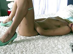 Lindsey Olsen with small breasts and shaved cunt fucks herself with vibrator