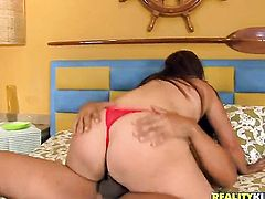 Brunette Aline Moura with round bottom is on the way to the height of pleasure with hard schlong in her bum
