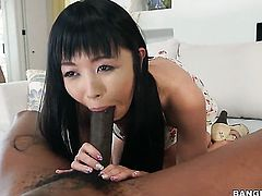 Marica Hase shows off her sexy body as she gets her mouth banged by mans erect schlong