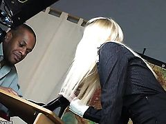Blonde Kerry Louise gets the earth moving interracial fuck