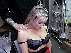 Abbey Brooks is in the back room and she is giving a blow job. The exotic beauty bends over and lets us admire her fine round ass. She wants her cunt licked.
