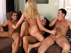 Blonde Gina Devine gets her mouth stretched by James Brossmans rock solid love stick