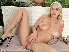 Blonde Mandi Dee with massive jugs cant stop toying her muff pie