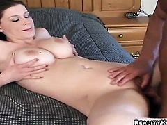 Brunette Sarah tries her hardest to make horny bang buddy bust a nut with her mouth
