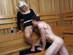 I got brutally fucked in the sauna by this sexy tranny. She looked just like a pin up model. The erotic slut opened my legs and stuck her huge cock in my asshole. The thrusting got faster and deeper as I tightened my asshole around her meaty lady cock.