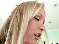 Blonde Jessica Moore with big butt having vigorous sex with hard cocked guy