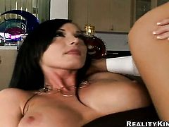 Glammed up cutie Melissa Lauren with giant breasts and trimmed cunt puts her luscious lips on rock hard meat stick