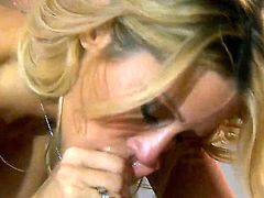 A hot blonde is giving a blow job and she is on top. Her large boobs are shaking as she is doing her sexy work on the mans manhood in this video.