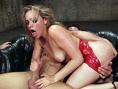 blonde bimbo fucked hard by two guys
