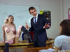 Carly has to rise to her naughty teacher's expectations. Watch this hot blonde student, fulfilling the horny guy's desires, as they get really excited, right in the classroom! She's clearly done her homeworks... See her sucking dick with fervor and spreading legs!