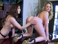Mia and Casey take a break from their intellectual pursuits and concentrate on the carnal ones. Casey gets Mia naked and bends her over, then sliding her tongue in her lover's pussy. She gives her a couple fingers as well.