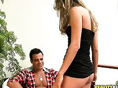 Blonde Roge Ferro gives a closeup view of her back yard as she masturbates anally