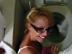 Piss drinking - Blonde gets piss all over her face and glasses