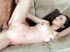 Brunette Victoria Rae Black with small booty and smooth muff does lewd things and then gets her pret