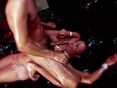 This is by far the oiliest of scenes featured in Oil Overload 2 and its starring Adrianna Nicole. This slut poured so much oil on her face and down the cock that shes throating that she can barely open her eyes. Adrianna endures a hard finger bang before riding that cock with her pussy and ass as she gets it ready to pop off in her mouth.