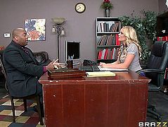 Lewd office secretary in nylons tempted a client in advance of giving a oral