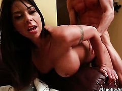 Brunette with big hooters and shaved snatch is skilled enough to make man cum again and again