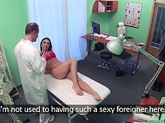 She had to see a doctor, while she was overseas and she doesn't know she's in a fake hospital. She takes the examination, knowing he's trying to go further than the norm. She calls him out on it, but still plays along with him, to get some dick in her.