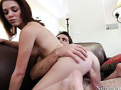Brunette exotic Kiera Winters with firm ass and hairless cunt is in heat in cumshot sex action