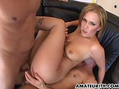Sacha enjoys a wonderful homemade hardcore anal threesome with double penetration, blowjobs and huge anal creampie ! Amazing slut in action...