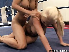 Blonde tart Wivien with huge jugs and Jessica Moore are two lovely lesbians that love pussy licking