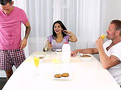 michelle was fucked by her step dad on the dining table