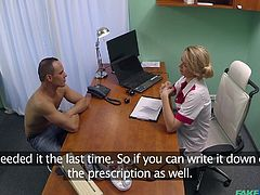 Female doctor tries to induce a new addiction in her patients, addiction of her vagina. She turns on the male patient within no time and he is horny as fuck. The big hard cock is doctor's new toy, her favorite one!
