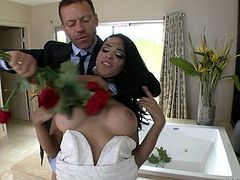 Slutty bride was fucked by groom's friend, just before their marriage ceremony, in the bathroom. The horny bitch got her cunt whipped by the muscled guy. She sucked his gigantic dick and then got brutally fucked.