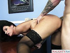 Oriental Richie Black with small booty shows her love for cock stroking