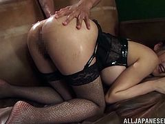 Are you fond of slutty Japanese babes? Fingering her cunt and playing dirty with a kinky anal sex toy, only turns this sexy brunette hotter! Click to watch the busty Asian lady, showing off her incredible ass to the camera.
