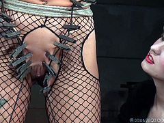 There's no way out for this slutty blonde. As she's strongly tied up with indestructible ropes, Rain DeGrey experiences a fierce humiliation: lots of clothes pins are attached on her nipples, cunt and on other body parts, by a naughty seductive mistress. Click to see details and enjoy!