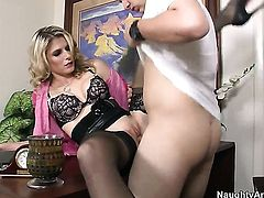 Blonde oriental Cory Chase with tiny bottom and trimmed muff shows anal tricks with passion