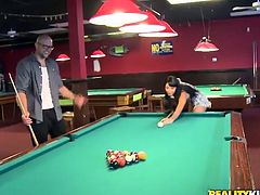 2 Spicy nymphs have banged For Money onto the Billiard Table