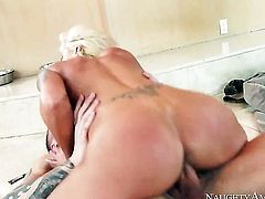 Blonde asian Nina Elle with juicy melons and trimmed pussy satisfies guys sexual desires and then gets her pretty face covered in sperm