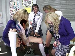 These school girls were seducing their teacher during class, by playing with their pussies and dildos. The teacher became furious and banged them right on the desk really hard. He punished them with a unexplainable pleasure...