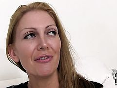 Mature Leigh Darby with huge tits and clean snatch gets down all by herself