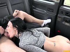 Jasmine doesn't know that she got into a fake taxi, where the real goal is getting sluts naked and fucking them. The fake taxi driver doesn't know that Jasmine is already a slut, and experienced at that. He doesn't even say anything about sex, before she's begging for a hard fuck.